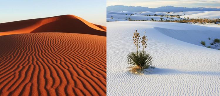 Белые и красные дюны